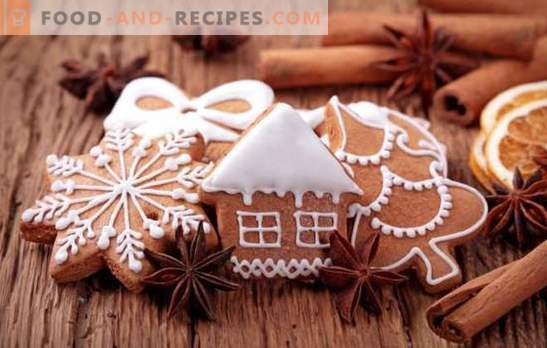 Gingerbread with icing - a festive flavor! Painted gingerbread with glaze: protein, chocolate, sugar