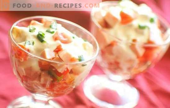 Recipes for salad with ham and tomatoes. Please yourself and