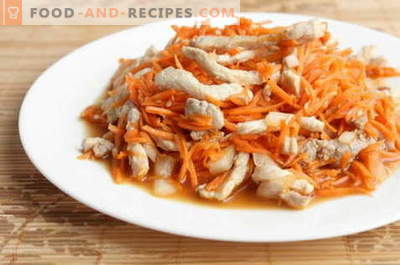 Korean chicken salad - the best recipes. How to properly and tasty to prepare a salad with chicken and Korean carrot.