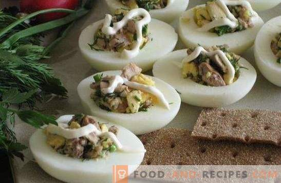 Eggs stuffed with cod liver - the original snack. Recipes for Eggs Stuffed with Cod Liver