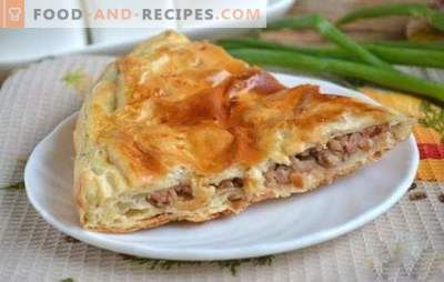 Meat pie from puff pastry with minced meat - nourishing and appetizing! How to bake a delicious puff pastry with minced meat and cheese, eggs, mushrooms