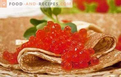 Pancakes with caviar - this is a snack! A selection of the best dough recipes and options for the filling for pancakes with caviar