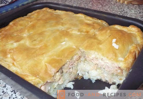 Fillet pies with cabbage, potatoes, kefir, and a slow cooker. The best recipes of jellied pies.