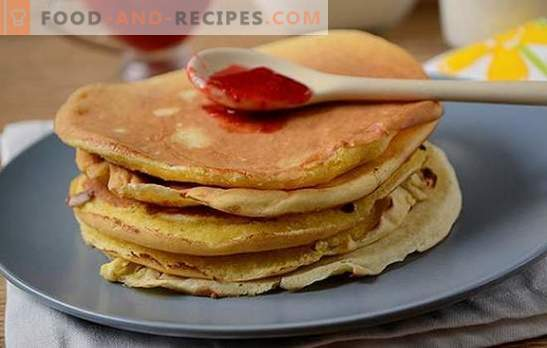 Pancakes with cornmeal: a lush, beautiful dessert on kefir. How to cook corn pancakes: step by step photo-recipe