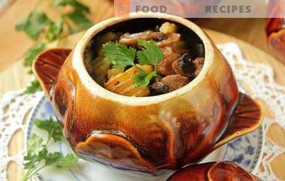 Rabbit in a pot: with sour cream, mushrooms, in wine. Nice chores - stew rabbit meat in a pot
