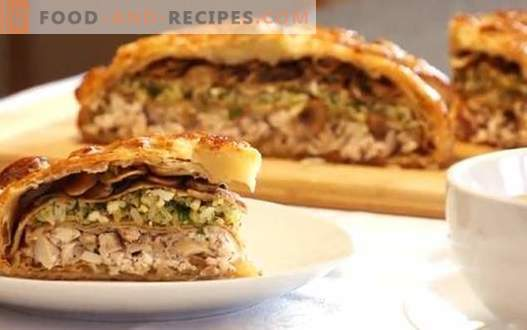 Chicken puff pie - the best recipes. How to properly and tasty cook puff pie with chicken.