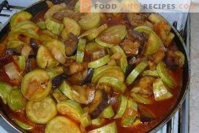 Squash stewed with eggplants