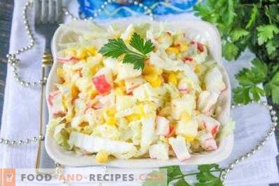 Salad with cabbage, corn and crab sticks