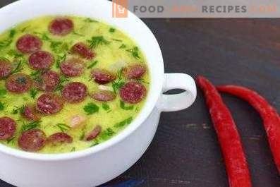 Cheese Soup with Sausages