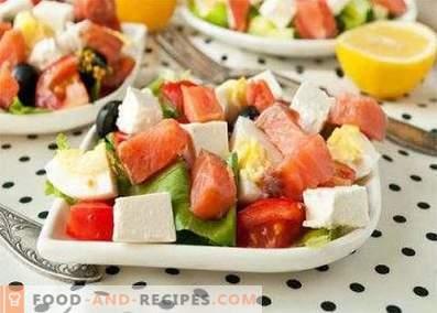 Salad of salty pink salmon