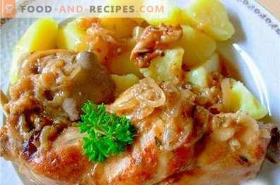 Rabbit stewed with potatoes in a slow cooker