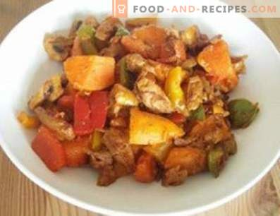 Duck stewed with vegetables