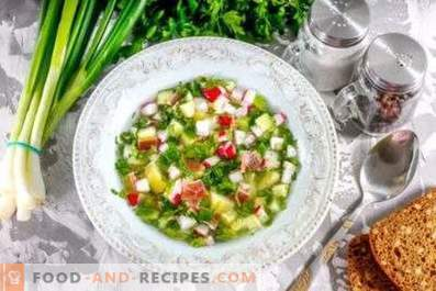 Okroshka on vinegar with water