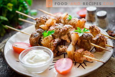 Kebab of champignons on the grill or in the oven. You will forget about meat