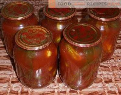 Cucumbers in tomato paste for the winter