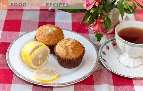 Lemon muffins - alluring flavor! Recipes for delicate lemon muffins with cream fillings, meringue and glaze